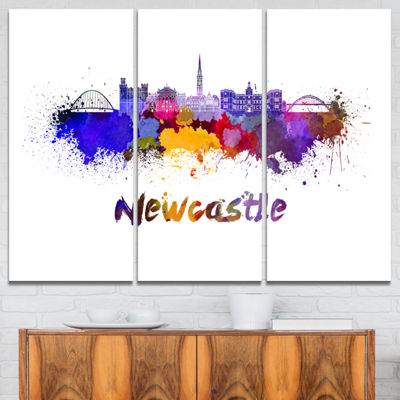 Designart Newcastle Skyline Cityscape Canvas ArtPrint - 3 Panels