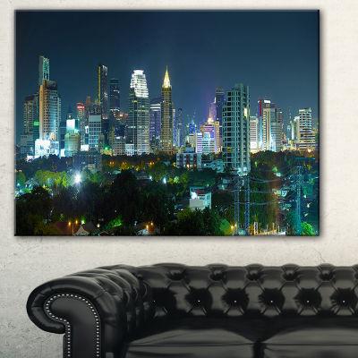 Designart Night City Bangkok Cityscape PhotographyCanvas Art Print - 3 Panels
