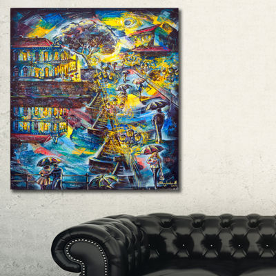 Designart Night City Graphics Art Cityscape LargeCanvas Print