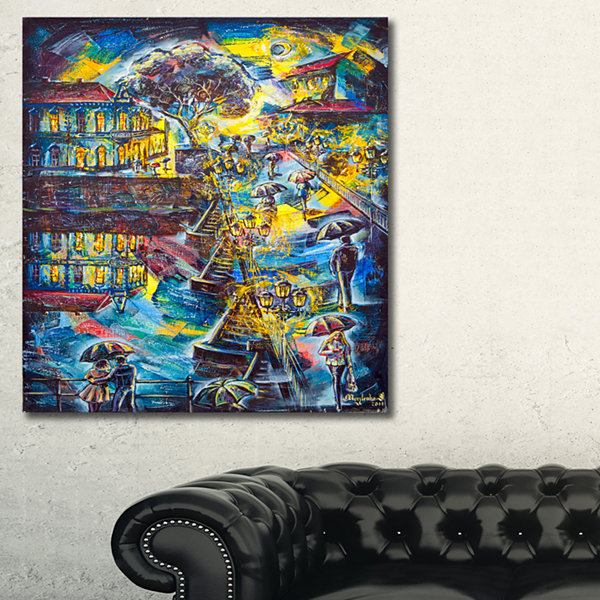 Designart Night City Graphics Art Cityscape LargeCanvas Print - 3 Panels