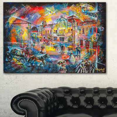 Designart Night City With People Cityscape CanvasArtwork