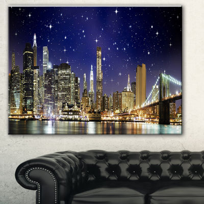 Designart Night Colors Over Brooklyn Bridge Cityscape Photo Canvas Print