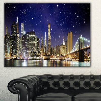 Designart Night Colors Over Brooklyn Bridge Cityscape Photo Canvas Print - 3 Panels