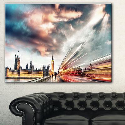 Designart Night Scene Of London City Cityscape Photo Canvas Print - 3 Panels