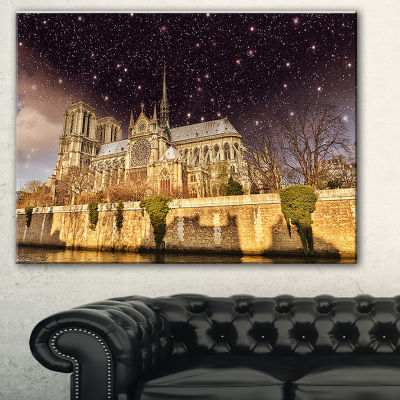 Designart Notre Dame Cathedral At Night CityscapePhoto Canvas Print
