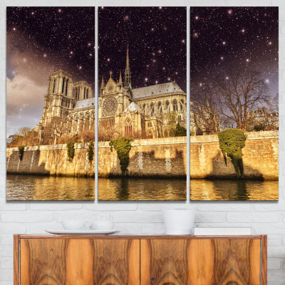 Design Art Notre Dame Cathedral At Night CityscapePhoto Canvas Print - 3 Panels