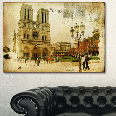 Designart Notre Dame Cathedral Vintage Card Contemporary Canvas Art Print - 3 Panels