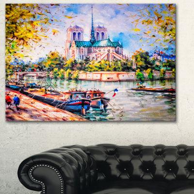 Designart Notre Dame Paris Landscape Art Print Canvas
