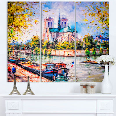 Designart Notre Dame Paris Landscape Art Print Canvas - 3 Panels