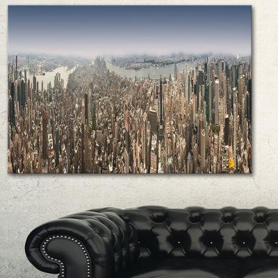 Designart Nyc 360 Degree Panorama Cityscape Photography Canvas Print