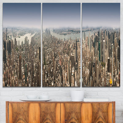 Designart Nyc 360 Degree Panorama Cityscape Photography Canvas Print - 3 Panels