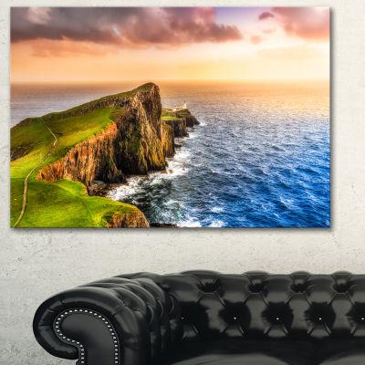 Designart Ocean Cost At Sunset Photography CanvasArt Print