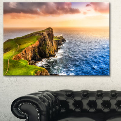 Designart Ocean Cost At Sunset Photography CanvasArt Print - 3 Panels