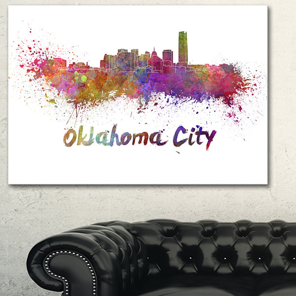 Designart Oklahoma Skyline Cityscape Canvas Artwork Print - 3 Panels