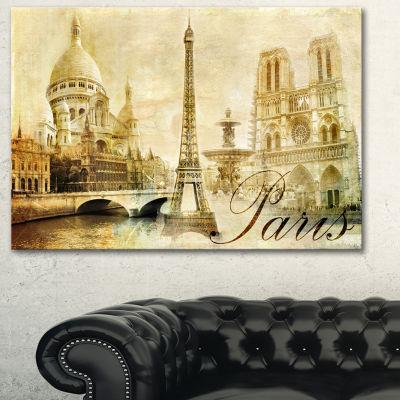 Designart Old Beautiful Paris Cityscape Digital Canvas Art Print - 3 Panels