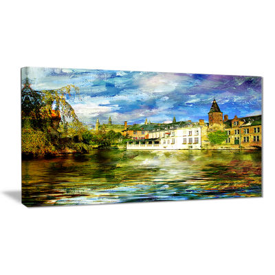 Designart Old Belgium Channel Landscape Photography Canvas Print