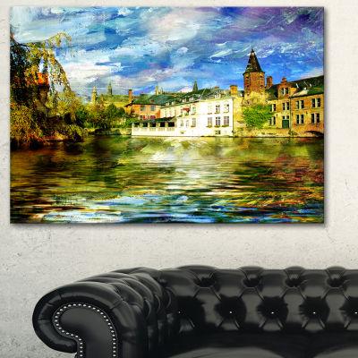 Designart Old Belgium Channel Landscape Photography Canvas Print - 3 Panels