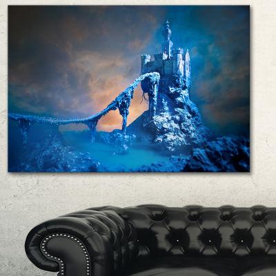 Design Art Old Blue Castle Contemporary Canvas ArtPrint - 3 Panels