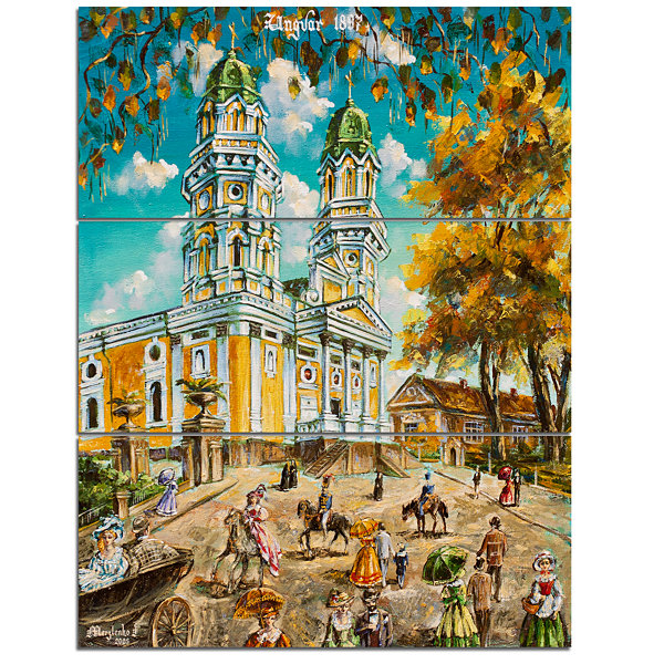 Design Art Old Church Landscape Art Print Canvas -3 Panels