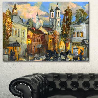Designart Old City Cityscape Canvas Art Print