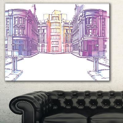 Designart Old City Street Cityscape Painting Canvas Print - 3 Panels