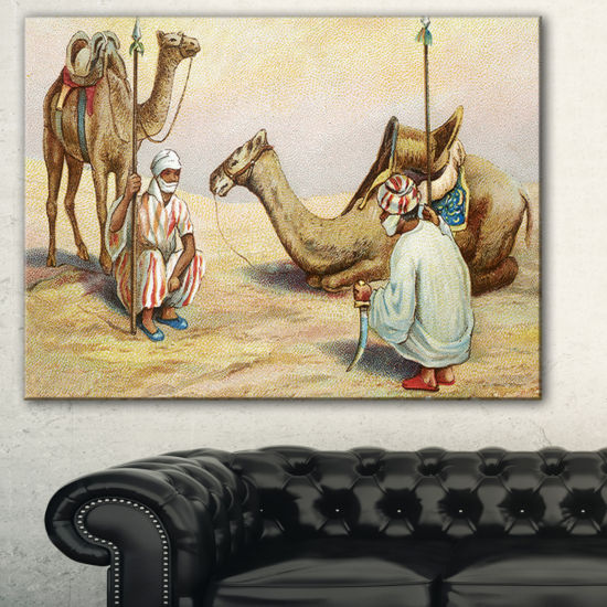 Designart Old Colonial Illustration Contemporary Canvas Art Print