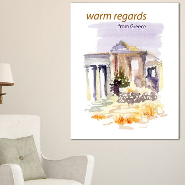 Designart Old Greece Vector Illustration CityscapePainting Canvas Print