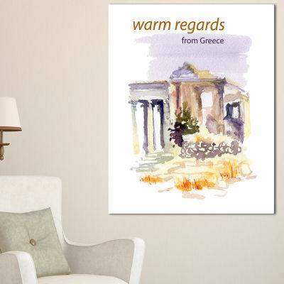 Design Art Old Greece Vector Illustration CityscapePainting Canvas Print - 3 Panels