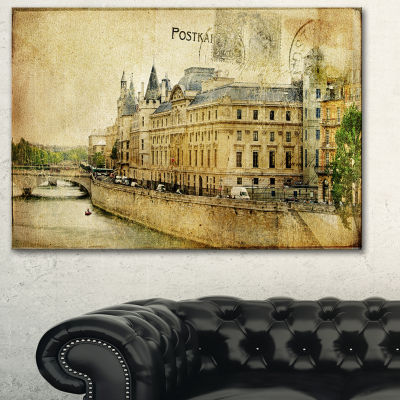 Designart Old Parisian Cards Abstract Canvas ArtPrint - 3 Panels