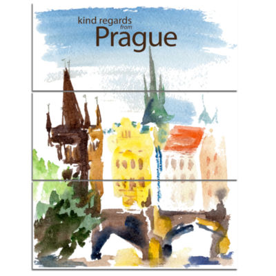 Designart Old Prague Vector Illustration CityscapePainting Canvas Print - 3 Panels