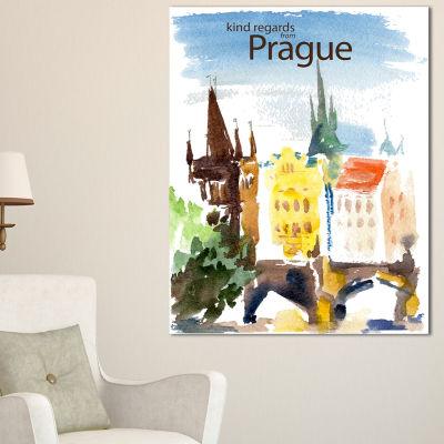 Design Art Old Prague Vector Illustration CityscapePainting Canvas Print - 3 Panels
