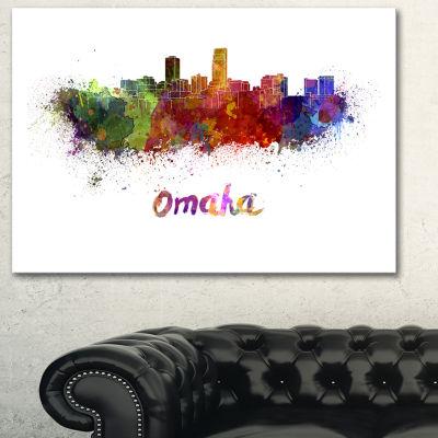 Designart Omaha Skyline Cityscape Canvas Art Print- 3 Panels
