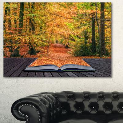 Design Art Open Book In Autumn Landscape Canvas ArtPrint - 3 Panels
