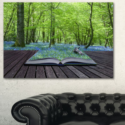 Design Art Open Book To Green Forest Landscape Canvas Art Print - 3 Panels