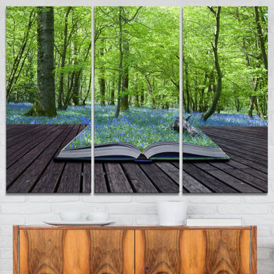 Designart Open Book To Green Forest Landscape Canvas Art Print - 3 Panels
