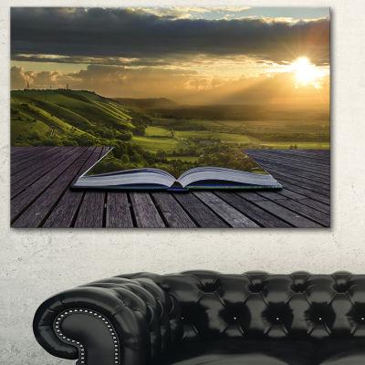 Designart Open Book To Green Valley Digital Art Landscape Canvas Print