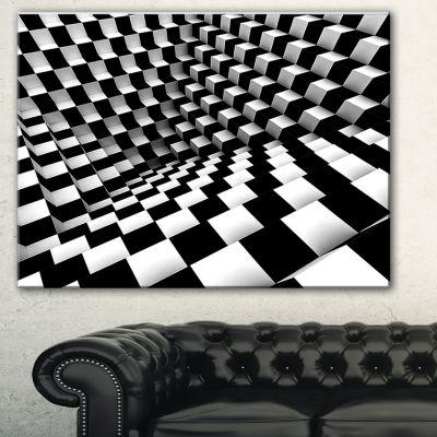 Designart Optical Black And White Pattern AbstractCanvas Art Print