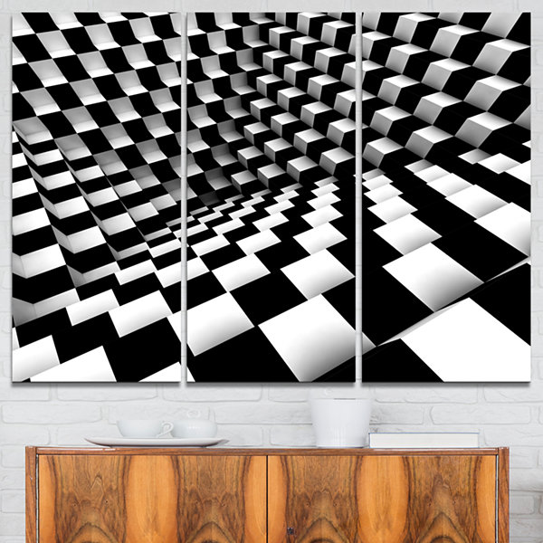 Designart Optical Black And White Pattern AbstractCanvas Art Print - 3 Panels