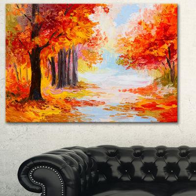 Designart Orange Forest In Autumn Landscape Art Print Canvas
