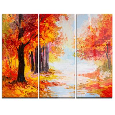 Designart Orange Forest In Autumn Landscape Art Print Canvas - 3 Panels