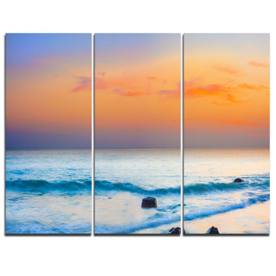 Designart Orange Sunset Panorama Photography Canvas Art Print - 3 Panels
