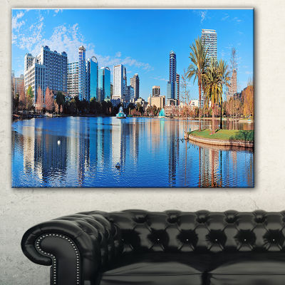 Designart Orlando Morning Cityscape Photo CanvasArt Print - 3 Panels
