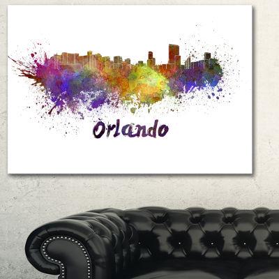 Designart Orlando Skyline Cityscape Canvas Art Print