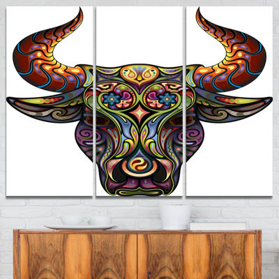 Designart Ornamental Bull Animal Canvas Art Print-3 Panels