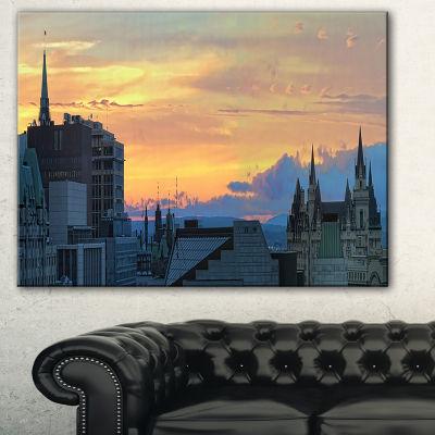 Design Art Ottawa City Panoramic Cityscape Photo Canvas Print - 3 Panels