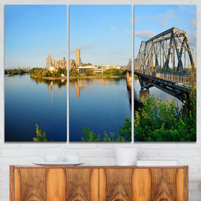Designart Ottawa Morning Panorama Cityscape PhotoCanvas Print - 3 Panels