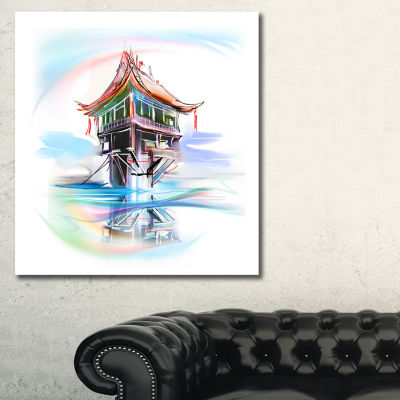 Designart Pagoda In Vietnam Abstract Canvas Art Print