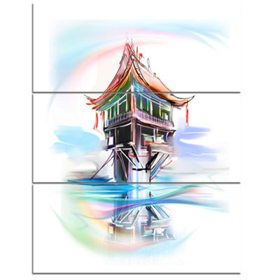 Designart Pagoda In Vietnam Abstract Canvas Art Print - 3 Panels