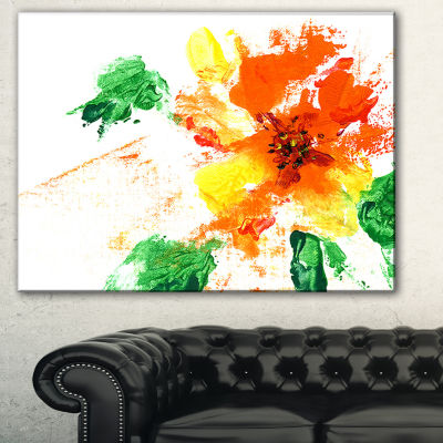 Designart Painted Abstract Flower Floral Art Canvas Print - 3 Panels