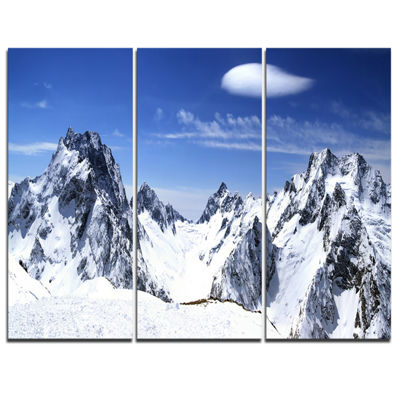 Designart Panorama Caucasus Mountains PhotographyCanvas Art Print - 3 Panels